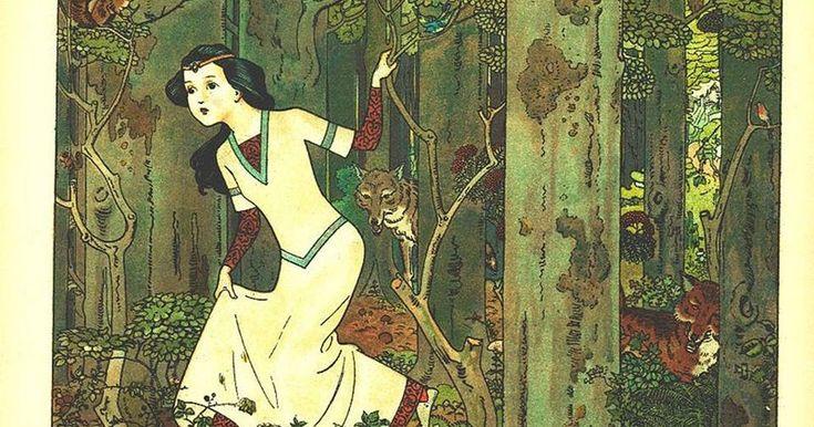 Branca de Neve na floresta. Ilustração de Franz Jüttner, 1910.      Ler muitos livros na biblioteca da escola. Contar as histórias par...