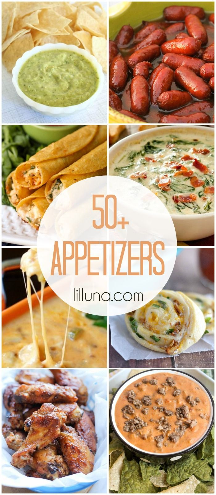 50+ Appetizer Recipes - perfect for all the upcoming Super Bowl parties! Check it out on { lilluna.com }