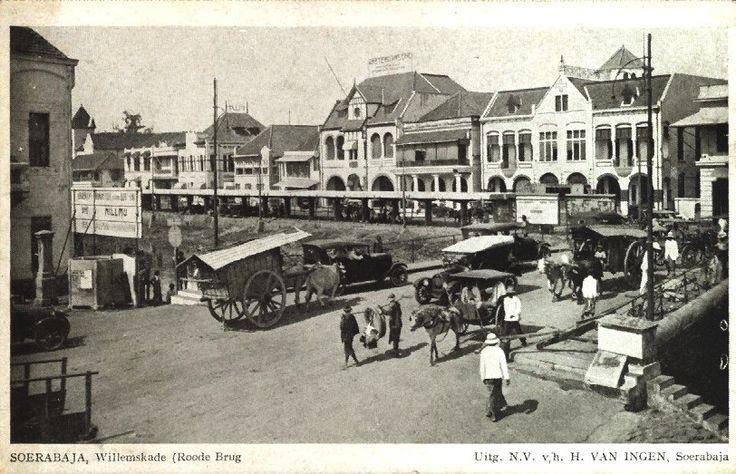 Willemskade bij de rode brug, Soerabaja