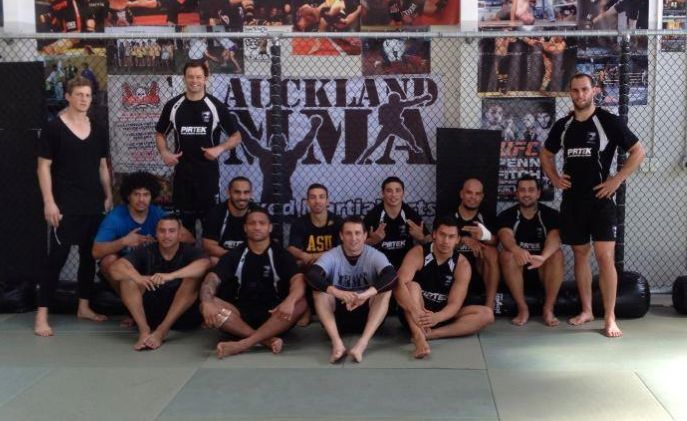 Kiwi's Rugby League team doing some wrestling at Auckland MMA