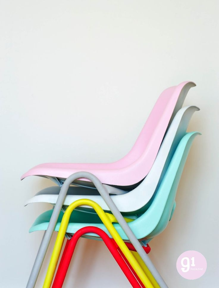 Pastel and neon chairs. See Charlotte Love's feature in issue 4 of 91 Magazine