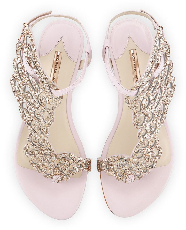 Sophia Webster Seraphina Angel Wing Flat Sandal Pink Glitter Wedding Flats For Dancing