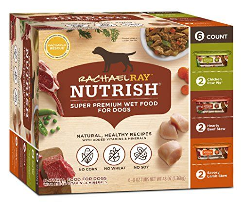 Rachael Ray Nutrish Natural Wet Dog Food, Grain Free, Single Pack of 6 - 8oz Tubs - Rachael Ray Nutrish Wet Food for Dogs Variety Pack contains 3 different flavors of our natural wet dog food: Hearty Beef Stew, Chicken Paw Pie, and Savory Lamb Stew.