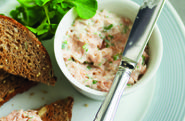 Salmon pate on wholegrain toast