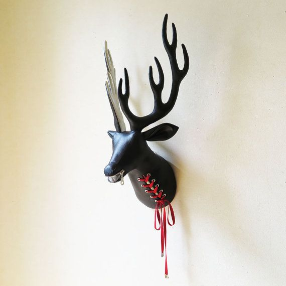 Lace-up fabric deer head  faux taxidermy  zipper by FabricTrophy
