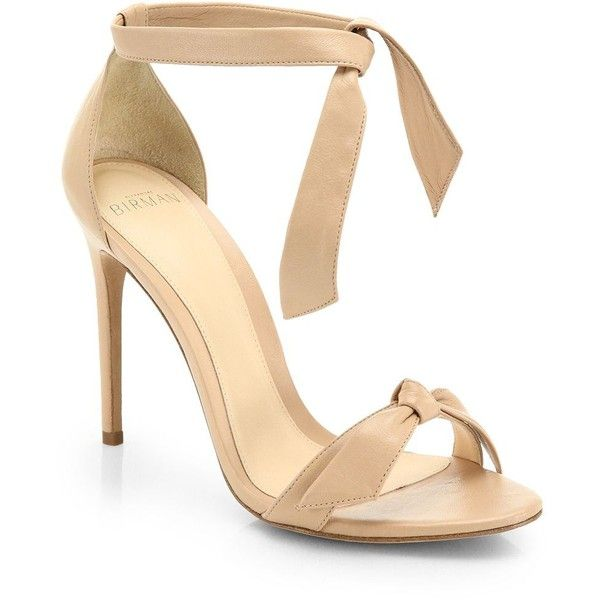Alexandre Birman Clarita Leather Ankle-Tie Sandals (38,770 INR) ❤ liked on Polyvore featuring shoes, sandals, heels, strappy sandals, stiletto sandals, ankle tie sandals, strap sandals and ankle strap shoes