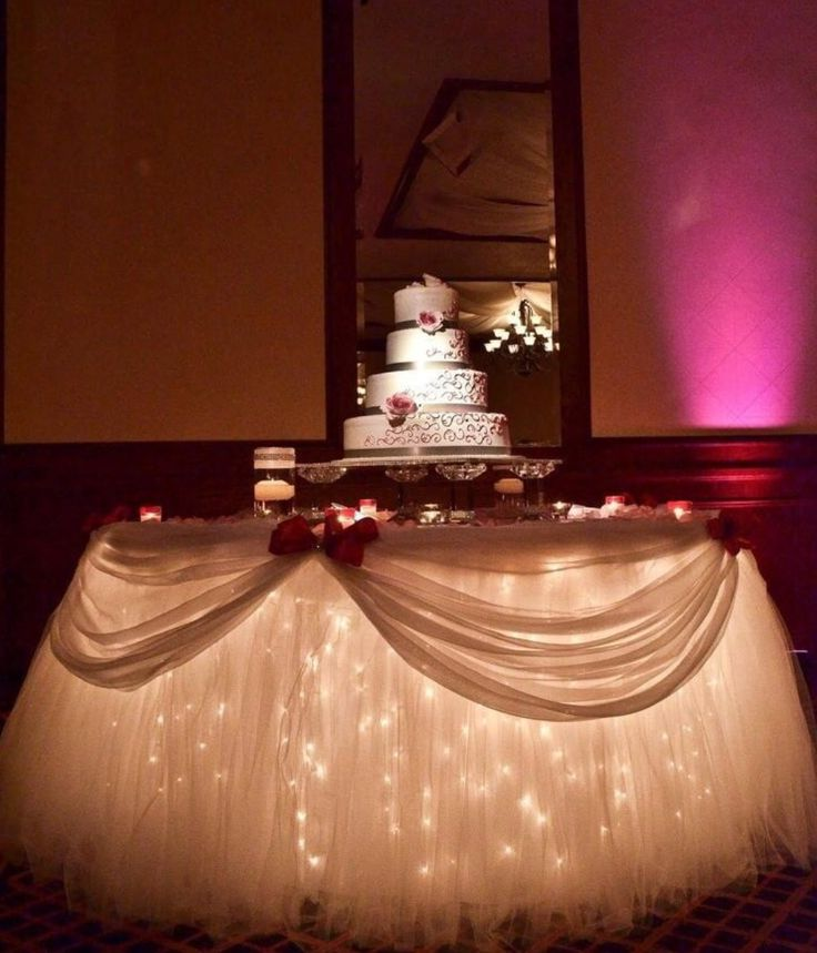 10 best cake table ideas images on pinterest wedding cake table love the lights under this and the tulle table skirt junglespirit Gallery