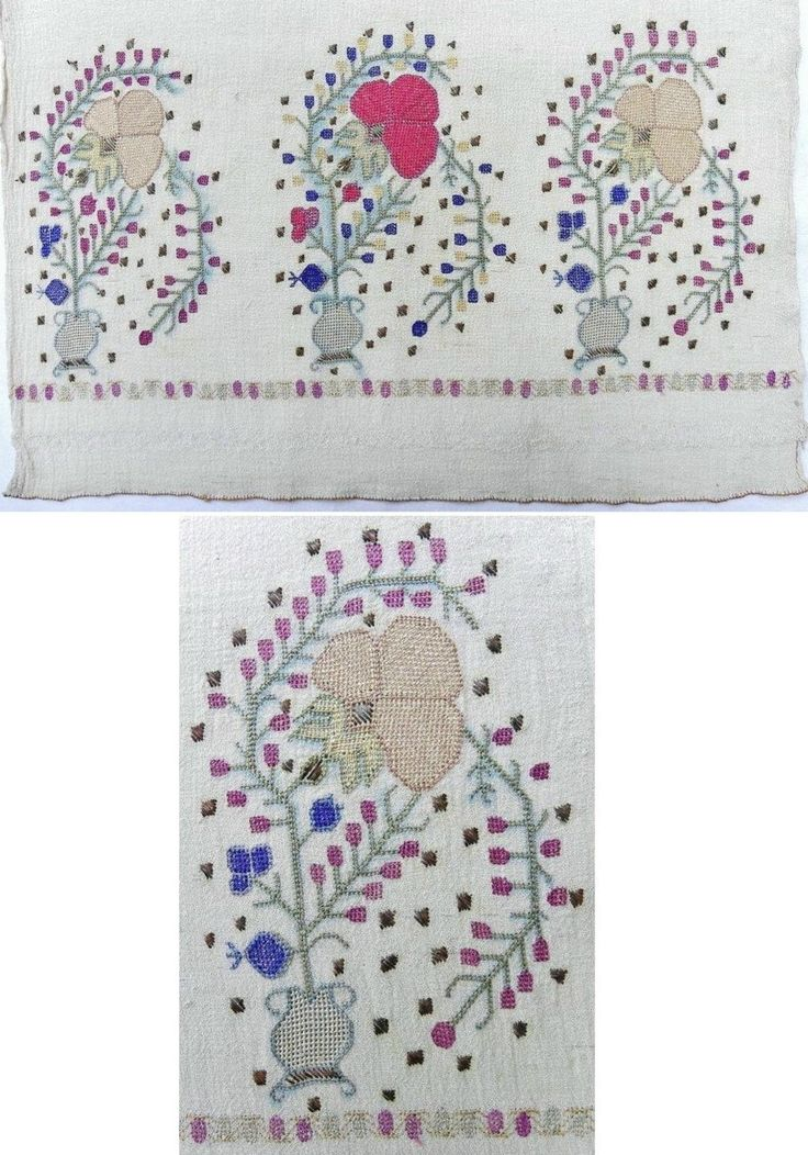 One end (+ detail) of a 'yağlık' (large handkerchief or hand towel). Crimean Tatar, from Turkey, ca. 1900. Called 'evciyar' in Crimean Turkish. Linen, 45 x 152 cm. The traditional Anatolian motif of rose, surrounded by hyacinths and placed in a vase, is repeated 3 times along the width of cloth. Height of the embroidery (from the tip of square decorations in metallic thread to the end of cloth: 25 cm. (The Asiye-Zeynep Collection, Washington DC).
