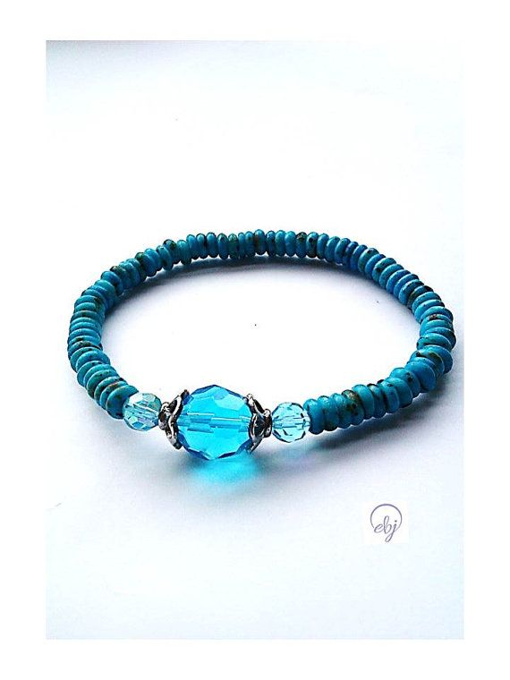 Turquoise Seed Bead Stretch Bracelet With Turquoise Crystals (Upcycle jewellery) -  British (UK) Jewellery Designer - £30.00