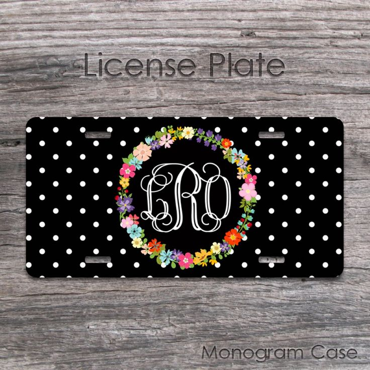Floral wreath and monogram front car tag design