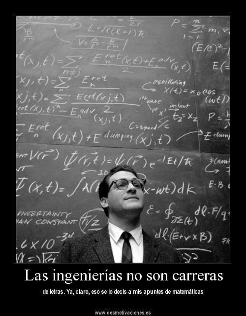 """""""Las ingenierías no son carreras de letras"""". Ya, claro, díselo a mis apuntes de matemáticas."""