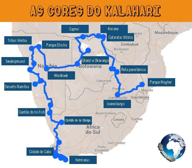 O roteiro de uma viagem pela África Austral, cruzando a África do Sul, a Namíbia, o Botswana e o Zimbábue ao longo de 32 dias.