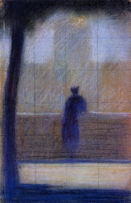 Georges Seurat (1859-1891) - Man Leaning on a Parapet