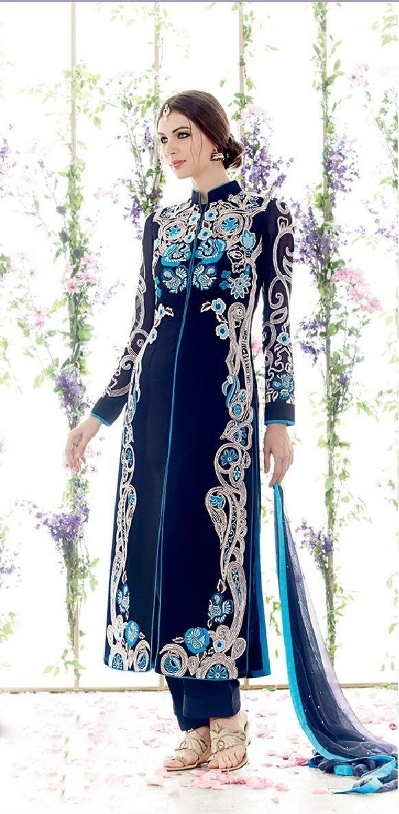 Navy Blue Embroidery Designer Shalwar Suit