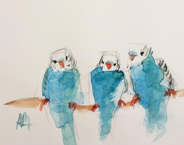 Three Blue Parakeets Original Watercolor Painting by Angela Moulton