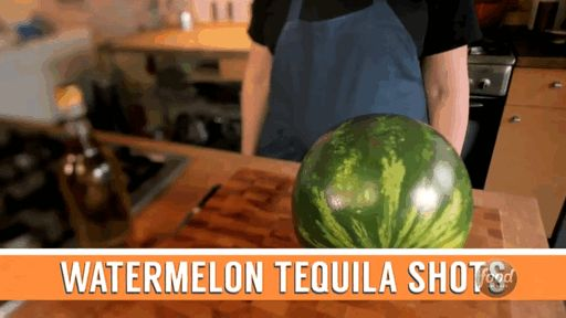 Watermelon tequila Shots. Food and alcohol for a summer party or a barbecue