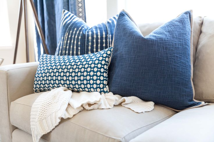 Navy Blue Pillows | Navy Blue and White Pillows | Patterned Pillows | Designer: Juxtaposed Interiors