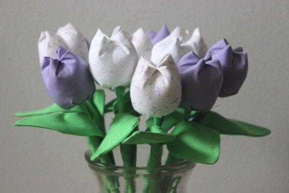 Fabric tulip bouquet. Lavender fabric flower bouquet. Anniversary cotton flowers. Purple white tulips. Get well flowers. Birthday bouquet
