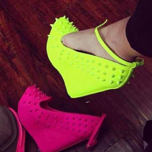 Neon Spiked Wedges ☻                                                                                                                                                                  ⇜•ṄεΦЙ❉€яᗛƶΣ•⇝