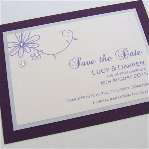 Save the Date Card with Floral Pattern and Swarovski Crystals - available in any colour. #wedding #savethedate