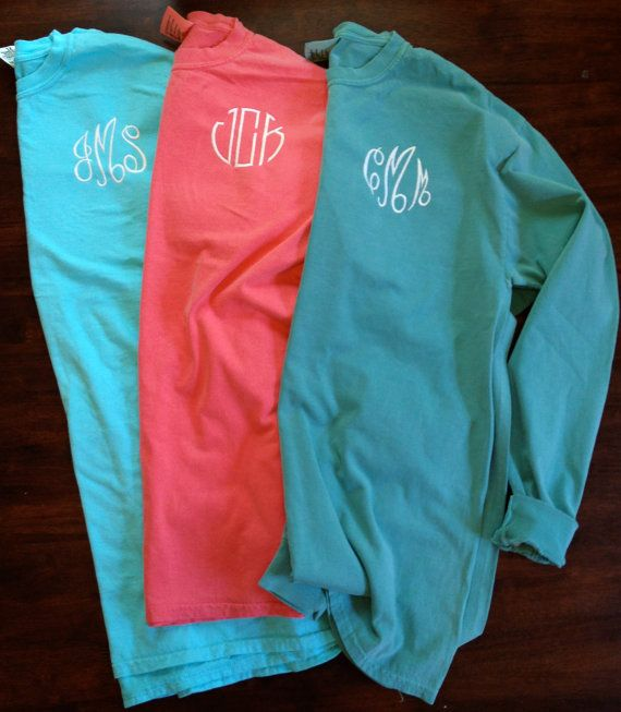 Monogrammed Comfort Colors Long Sleeve Shirt by ShirtsByAbby, $23.00