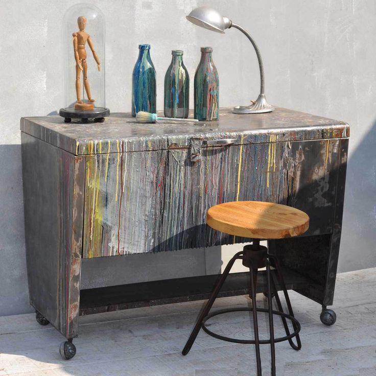 Artists Studio Steel Wheeled Table With Original Dribbling Paint  vintage  interior style by if you210 best Vintage Industrial Home images on Pinterest   Vintage  . Artist Studio Furniture Uk. Home Design Ideas