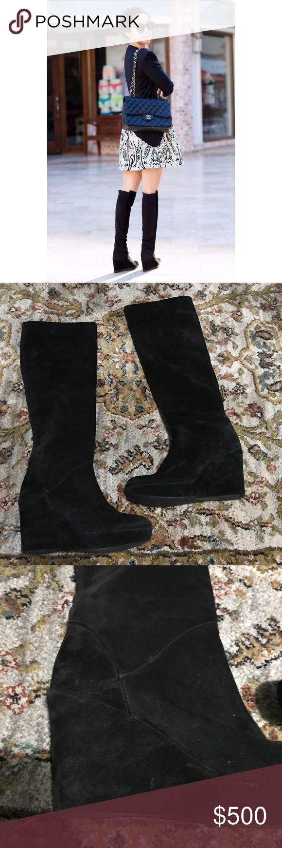 Stuart Weitzman Black Suede Wedge Boots Great condition with very minor marks on Suede on inner leg. Pull on style. Comfortable wedge. Stuart Weitzman Shoes