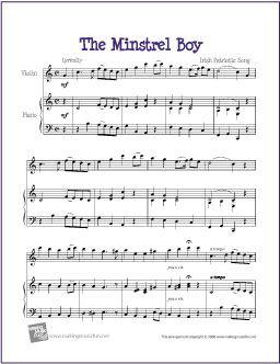 The Minstrel Boy | Celtic Free Sheet Music - http://makingmusicfun.net/htm/f_printit_free_printable_sheet_music/the-minstrel-boy-violin-solo.htm