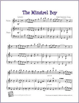 The Minstrel Boy | Celtic Free Sheet Music - http://makingmusicfun.net/htm/f_printit_free_printable_sheet_music/the-minstrel-boy-violin-solo.htm