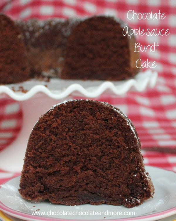 Chocolate Applesauce Bundt Cake by chocolatechoclaateandmore: Using applesauce makes for a delicious, moist cake, no frosting needed. #Cake #Chocolate #Applesauce #Healthy