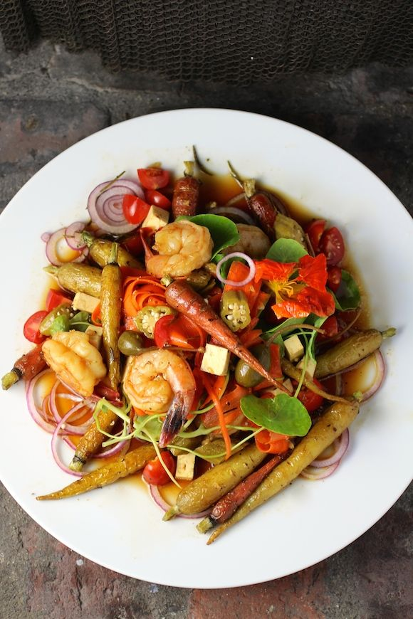 Peruvian Shrimp and Carrot Salad, Aji Amarillo Soy Limon Dressing