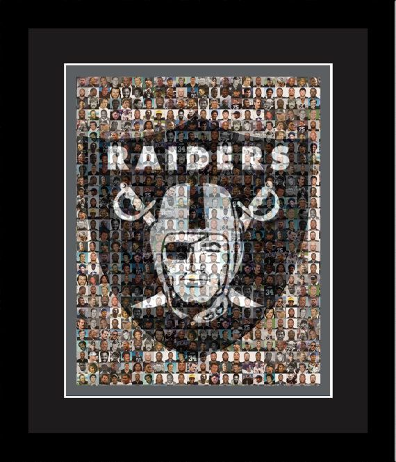 Oakland Raiders Player Mosaic Print Art Design Using 100 Past and Present Raider Player Photos. Handmade by The Mosaic Guy