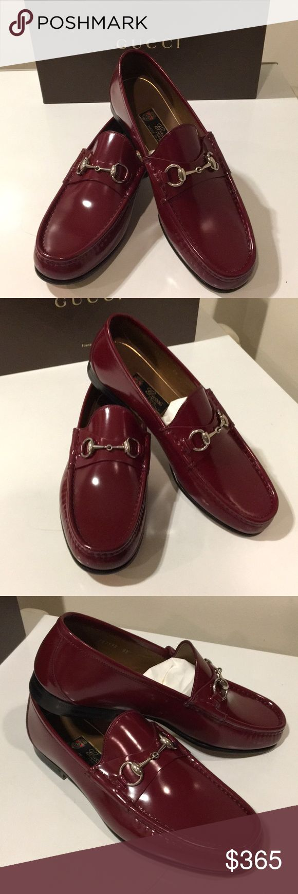 New Gucci Shady Lux Red Horsebit leather shoes🇮🇹 Brand New Gucci Shady Lux Horsebit loafer shoes🇮🇹 Color Strong red  Various sizes - Gucci shoes is stamp with Gucci size and the US size is a size bigger U.K. 8.5 is US Sz 9.5  You are looking at the Gucci classic 1953 label leather shoes. Shinny upper leather   It has the Horsebit buckle that just give it the classiness of the shoes  Comes with Gucci original box and Gucci dust bag  Very elegant has a leather insole and outsole  Made in…
