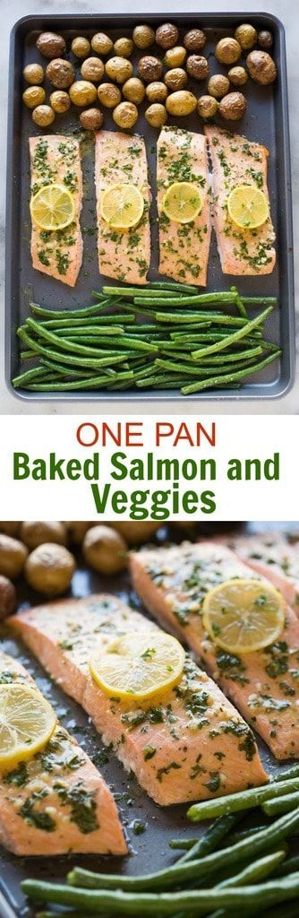 This DELICIOUS one pan baked salmon and vegetables dinner will have you feeling like you're eating at a restaurant. Perfectly cooked salmon with a lemon dijon sauce, tender roasted potatoes and crisp green beans. #onepan #sheetpan #salmon #dinner #easy via @betrfromscratch