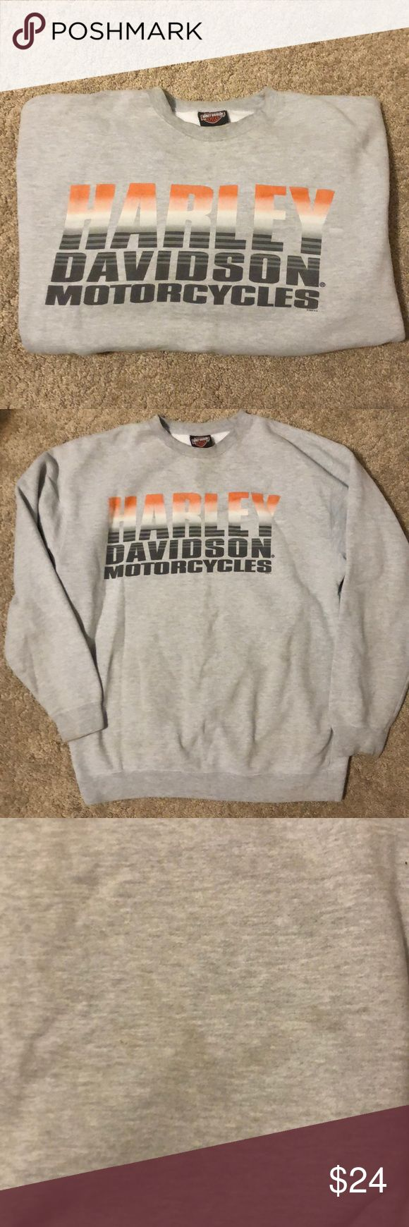 Harley Davidson Sweatshirt Grey Harvey Davidson Motorcycles sweatshirt for sale. -size large. -has been worn a couple stays that are hard to see but there.  -they may be able to come out in the wash but no promises. -Large Harley-Davidson Shirts Sweatshirts & Hoodies