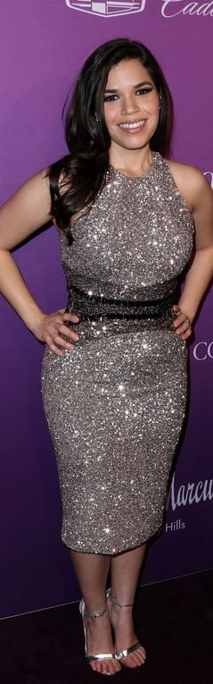 Who made America Ferrera's silver sandals and dress?