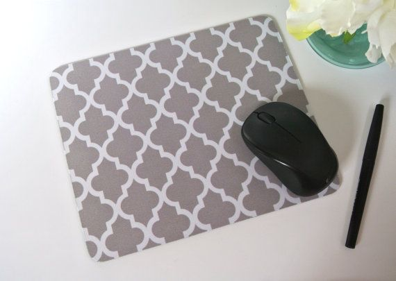 Gray Morrocan Quatrefoil Print Mouse Pad  by yourethatgirldesigns @ etsy.com ($12)
