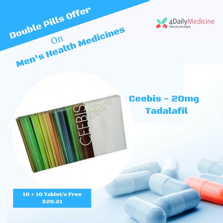 Get #DoublePills Offer on #Medicines  Buy #Menshealth medicines #Tadalafil (#Ceebis20mg) online at  #4Dailymedicines https://www.4dailymedicine.com/ceebis-20mg.html