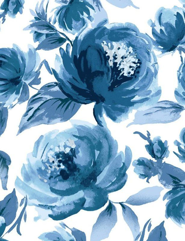 Veronica 27 L X 27 W Wallpaper Roll In 2020 Blue Flower