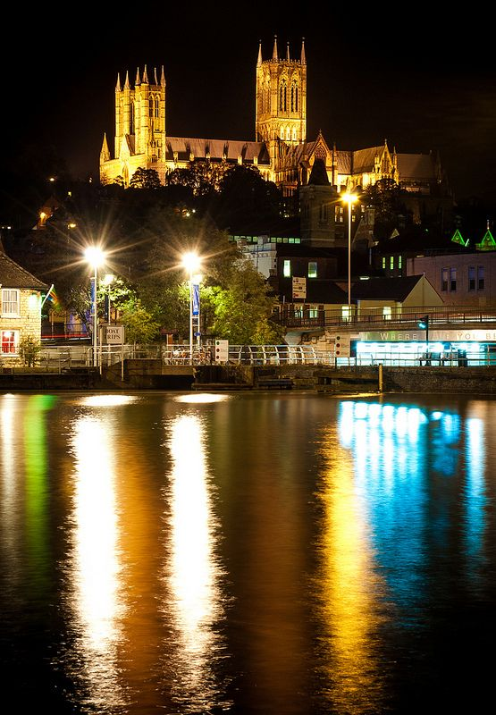 """""""Cathedral Across The Pool..."""" Looking over the inner-city """"Brayford Pool"""", up towards the historic Lincoln Cathedral high upon it's vantage point."""