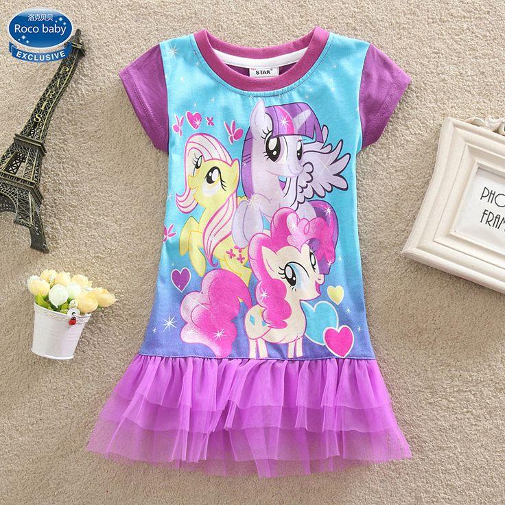 Новые 2016 летние дети мода детская одежда моей пони девушка платье новорожденных девочек одежда с коротким рукавом платья для девочек Vestido купить на AliExpress