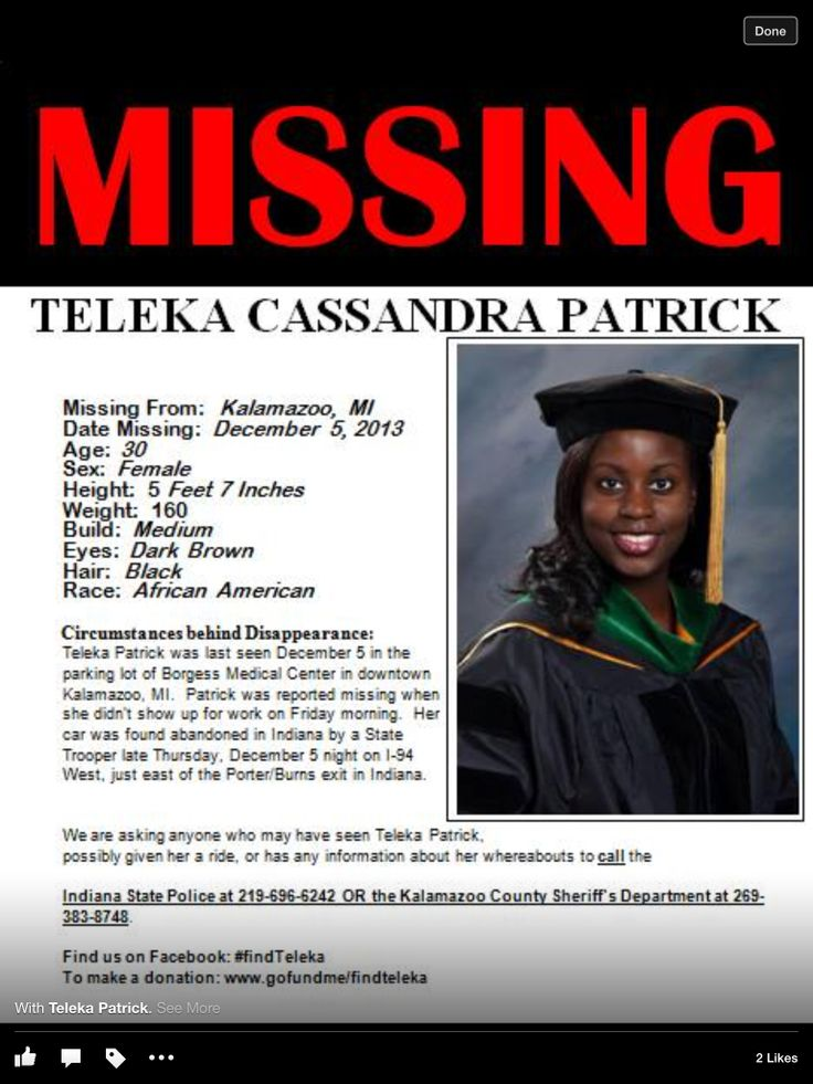 Teleka Patrick Investigation: New Details On Missing Personu0027s Case  Missing Person Words
