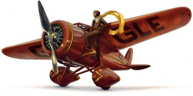 Amelia Earhart's 115th Birthday, July 24, 2012 Google Doodle