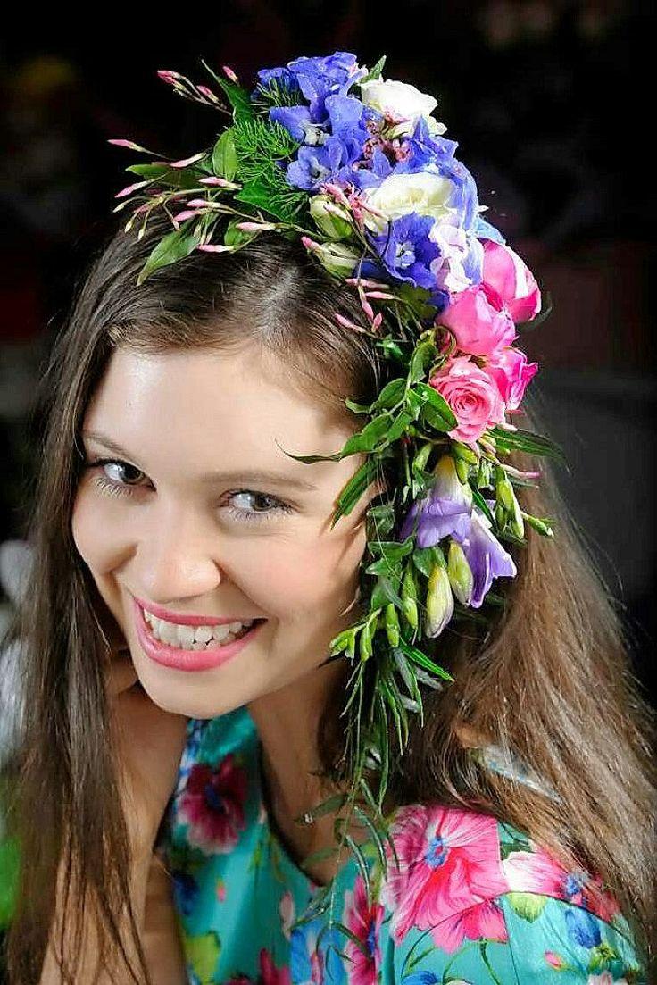 Freesia, Roses, Delphinium Fresh Floral Hair Bouquet
