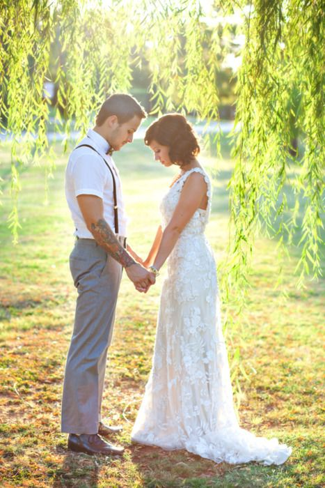 Praying Together. Also, I would like to point out the suspenders. <3Prayer, Photos Ideas, Weeping Willow, Future Husband, Pictures, Wedding Photos, Grooms Outfit, The Dresses, Big Day