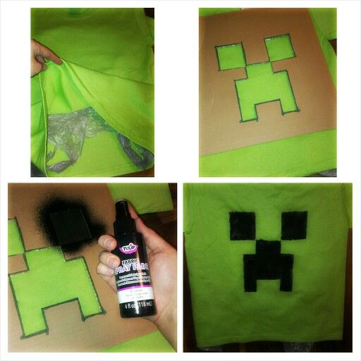 Easy minecraft tshirt. Get plain green T shirts from your local craft store and black spray fabric paint. Iron the shirt. Cut out a creeper face outline on thick paper or cardboard. Place a plastic bag or a piece of cardboard inside the shirt so the paint doesn't sink through to the other side. Spray paint inside the outline. DONE! I did these for my son's birthday party favors for him and his friends to wear to the party :)