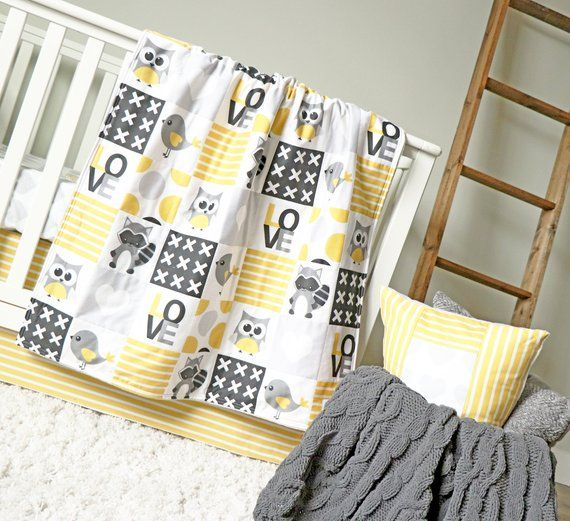 Crib Bedding Gender Neutral Woodlands, Owl Nursery Bedding Yellow