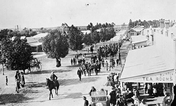 Parade of Troops returning after World War I, Rainbow, Victoria, pre 1920 - Museum Victoria. The Mechanics Institute is visible on the right in the background.