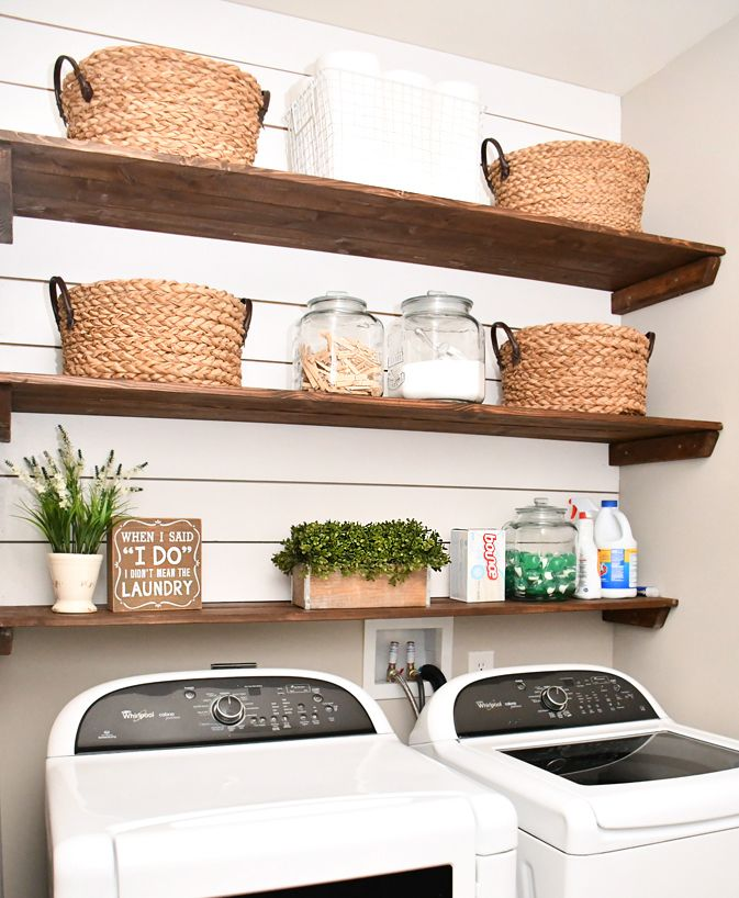 Our favorite part of the new laundry room is definitely the shiplap and shelving. It provides a lot of extra storage, plus the entire thing cost us less than $80. And it was super easy to complete! First thing we did was measure the back wall of our laundry room above the washer and dryer. …