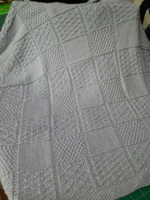 Baby blanket knitted in cotton yarn from the Bendigo Woollen Mill.